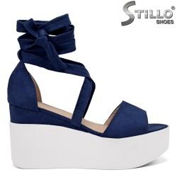Sandale dama din velur de culoare albastru cu platforma de culoare alb - 35049