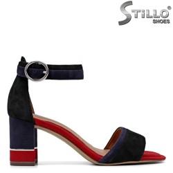 Sandale dama elegante  model TAMARIS de culoare albastru si rosu la toc - 35058