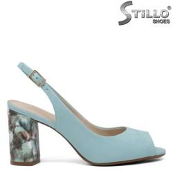 Sandale dama de culoare verde cu toc desen  floral - 35073
