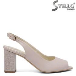 Sandale dama de culoare bej din piele naturala cu toc inalt - 35076
