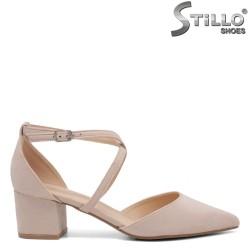 Pantofi dama cu partea din spate acoperita din velur de culoare bej - 35077