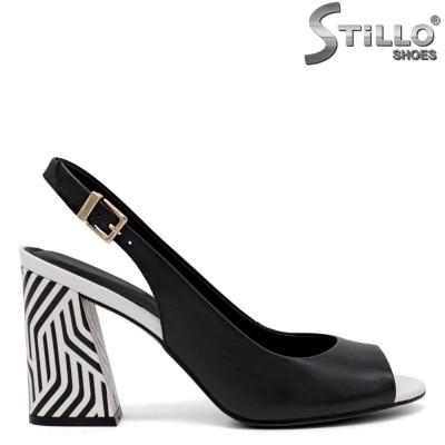 Sandale dama cu toc zebra din piele naturala - 35082