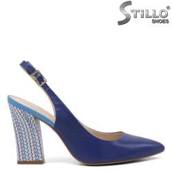 Sandale dama de culoare albastru si cu toc mijlociu colorat inalt - 35090