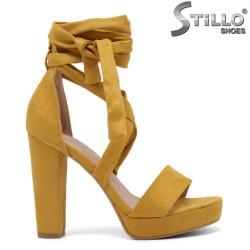 Sandale dama de culoare galben cu sireturi la glezna - 35092