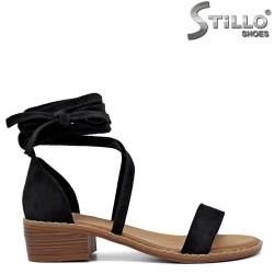Sandale dama cu toc jos si cu sireturi la glezna - 35096