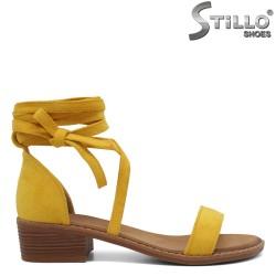Sandale dama din velur cu sireturi lungi la glezna - 35100