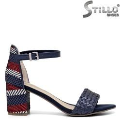 Sandale dama cu toc de culoare albastru si rosu - 35111