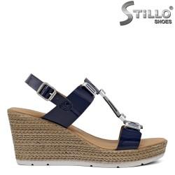 Sandale dama model Маrco Tozzi din lac de culoare albastru- 35116