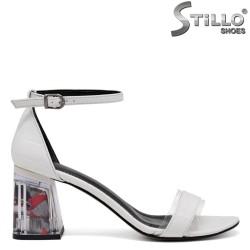 Sandale dama de culoare alb si cu toc transparent - 35120