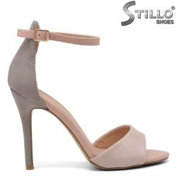 Sandale dama din velur de culoare roz si gri cu toc inalt - 35134