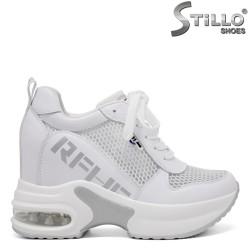 Sneakers dama de culoare alb cu platforma interioara - 35138