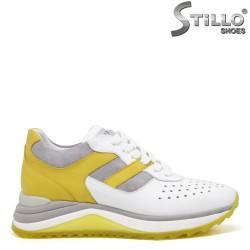 Pantofi dama sport din piele de culoare alb,gri si galben - 35139