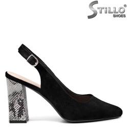 Pantofi dama moderni cu toc imprimanta  tip sarpe - 35142