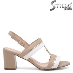 Sandale dama elegante de culoare bej si alb - 35173