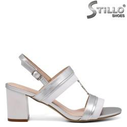 Sandale dama argintii cu toc - 35174