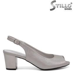 Sandale dama argintii cu toc mijlociu - 35180