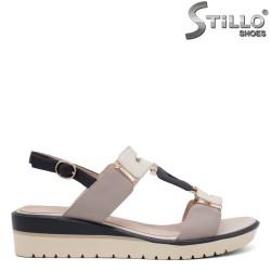 Sandale dama cu platforma de culoare bej si albastru - 35181