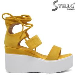 Sandale dama de culoare galben cu platforma de culoare alb - 35183