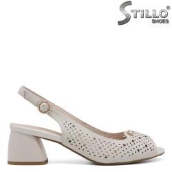 Sandale dama din piele naturala cu toc mijlociu - 35201