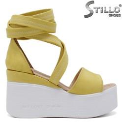 Sandale dama de culoare galben cu platforma  - 35222