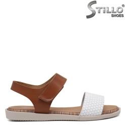 Sandale dama de culoare alb si maron - 35230