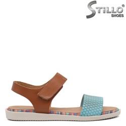 Sandale dama din piele naturala de culoare turcoaz - 35233