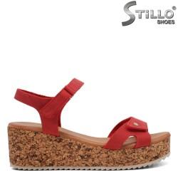 Sandale dama de culoare rosu cu platforma - 35237