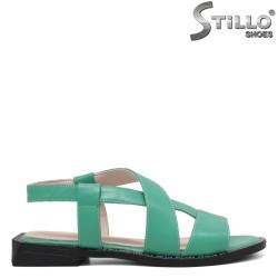 Sandale dama din piele naturala  de culoare verde si cu talpa dreapta - 35242