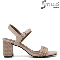 Sandale dama de culoare bej cu toc inalt reliefat - 35254