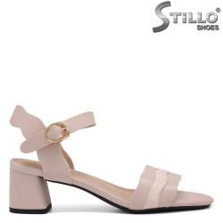 Sandale dama cu toc mijlociu de culoare bej si roz - 35255