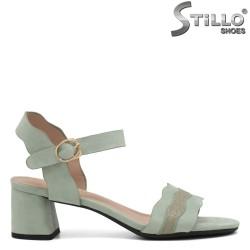 Sandale dama din velur de culoare verde cu toc  - 35258