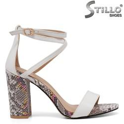 Sandale dama de culoare alb si cu toc desen sarpe - 35261