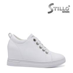 Pantofi dama sport de culoare alb cu platforma ascunsa -  35326