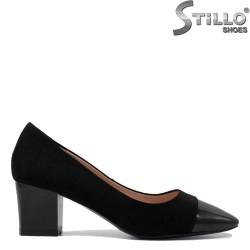 Pantofi dama cu toc mijlociu din nubuc si lac- 35395