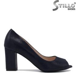 Pantofi dama de culoare albastru decupati in partea din fata si cu toc inalt - 35397