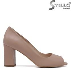 Pantofi dama din piele naturala de culoare bej cu toc  - 35398