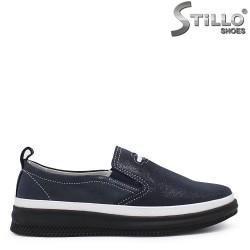 Pantofi dama de zi cu zi din piele naturala de culoare albastru inchis - 35416