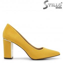 Pantofi dama din velur de culoare galben - 35962