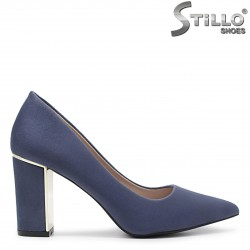 Pantofi dama eleganti din velur de culoare albastru - 35978