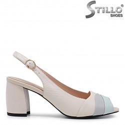 Sandale dama de culoare bej cu toc gros - 36013