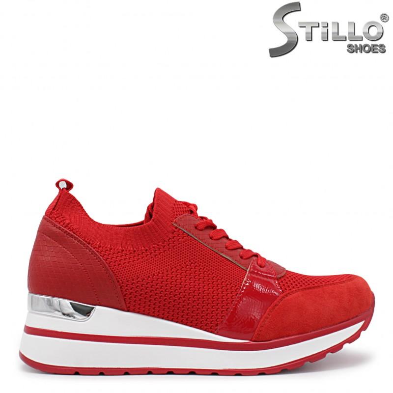 Pantofi dama sport de culoare rosu cu platforma -36037