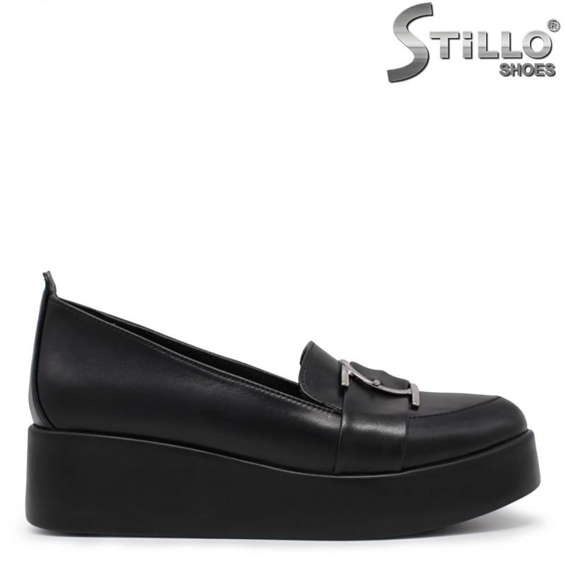 Pantofi dama din piele naturala si cu platforma joasa- 36071