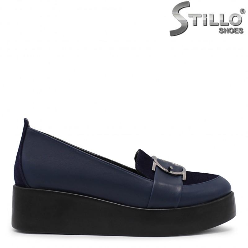 Pantofi dama de culoare albastru cu platforma - 36075