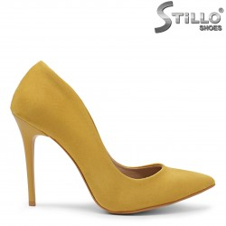 Pantofi dama eleganti de culoare galben si cu toc subtire-36091