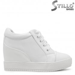Pantofi dama sport de culoare alb si cu platforma - 36374