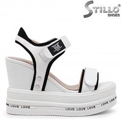 Sandale dama cu platforma din piele naturala - 36027