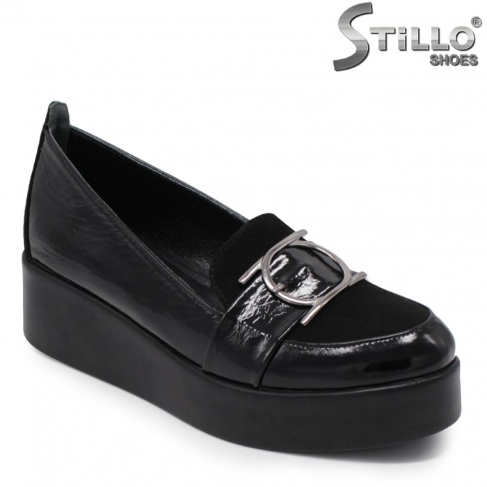 Pantofi dama din velur si cu platforma - 36063
