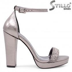 Sandale dama pentru absolvente de culoare bronz cu toc inalt - 36094