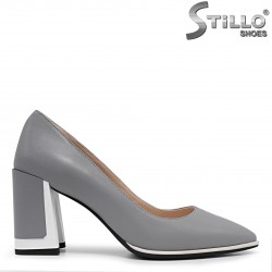 Pantofi dama cu toc inalt de culoare gri - 36197