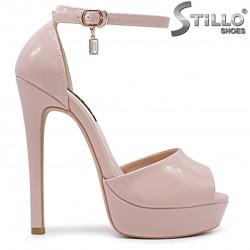 Sandale dama elegante de culoare roz cu toc inalt - 36265